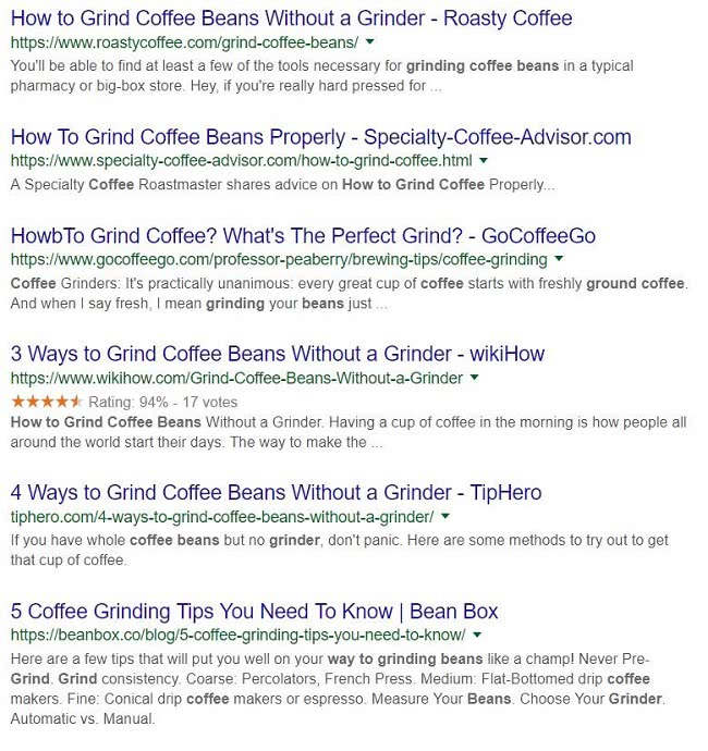 Google Search Results Screenshot for Grinding Coffee Beans
